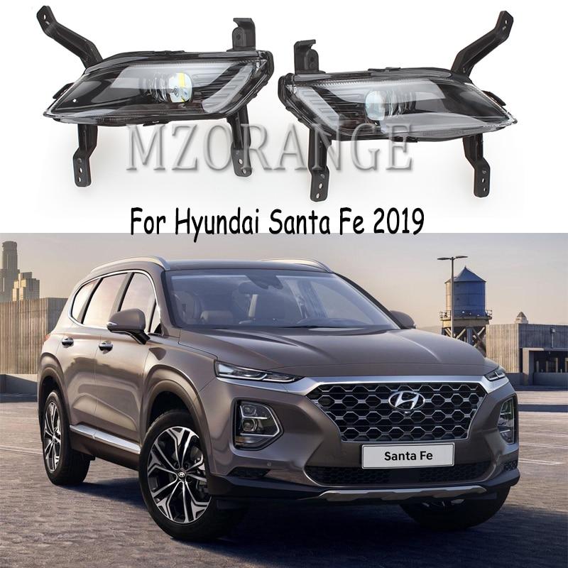 DRL LED para Hyundai Santa Fe 2019, luz diurna, luz diurna, faros delanteros, faros antiniebla, luces antiniebla