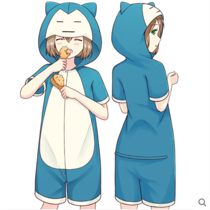Anime pijamas de snorlax Pokemon de las mujeres de los hombres adultos de manga corta pijama con animal de dibujos animados pijama verano unisex cosplay traje