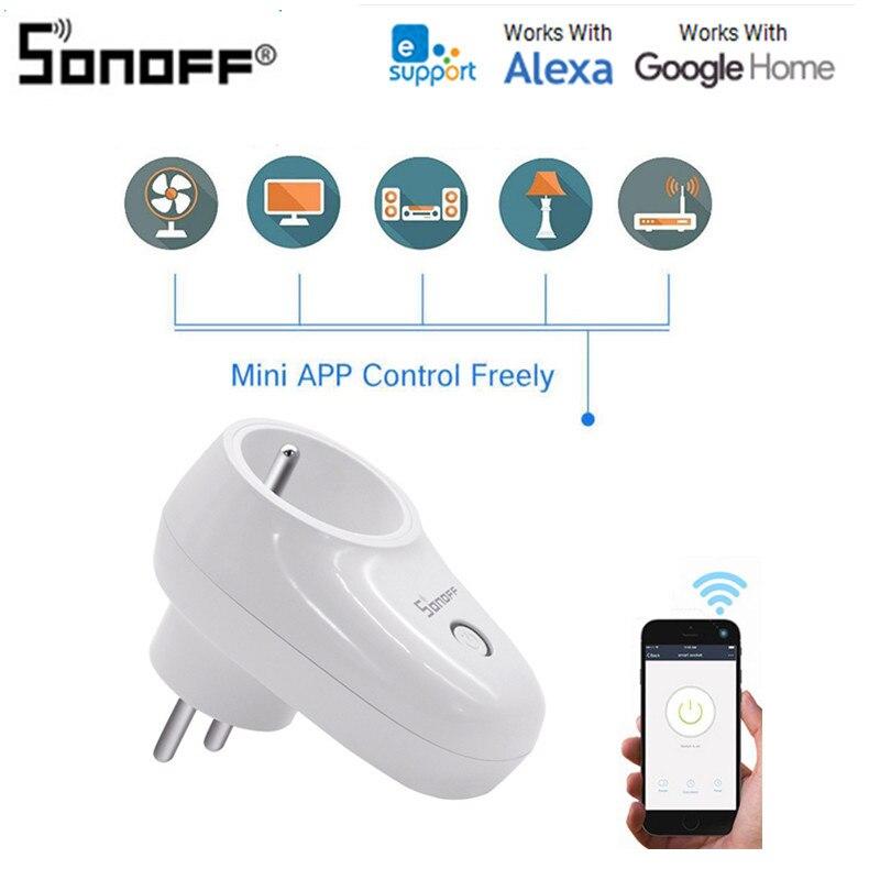 Sonoff S26 WiFi Smart US/UK/EU enchufe inalámbrico toma de corriente Smart Home Switch funciona con asistente de Google Alexa IFTTT