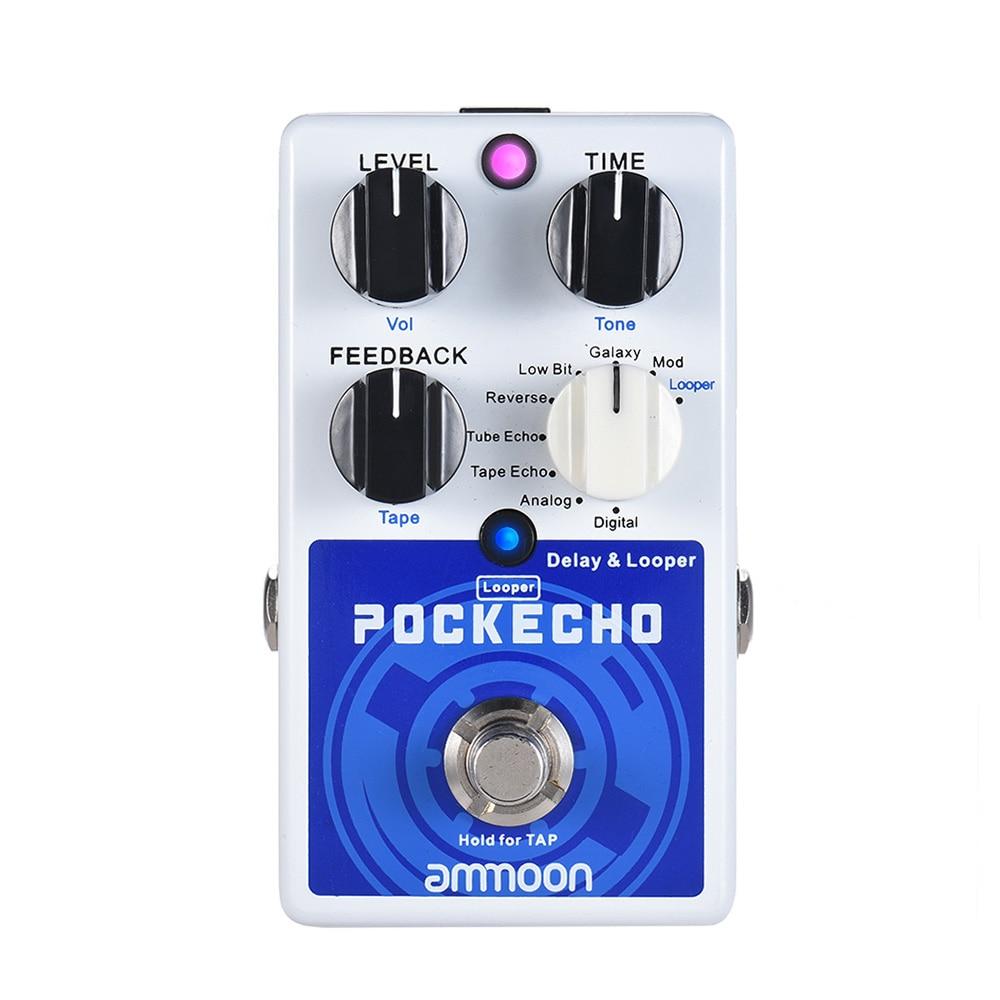 Pedal de efectos de guitarra con efecto retardante 8 efectos de retardo Max. 300s tiempo de bucle ammoon pockacho