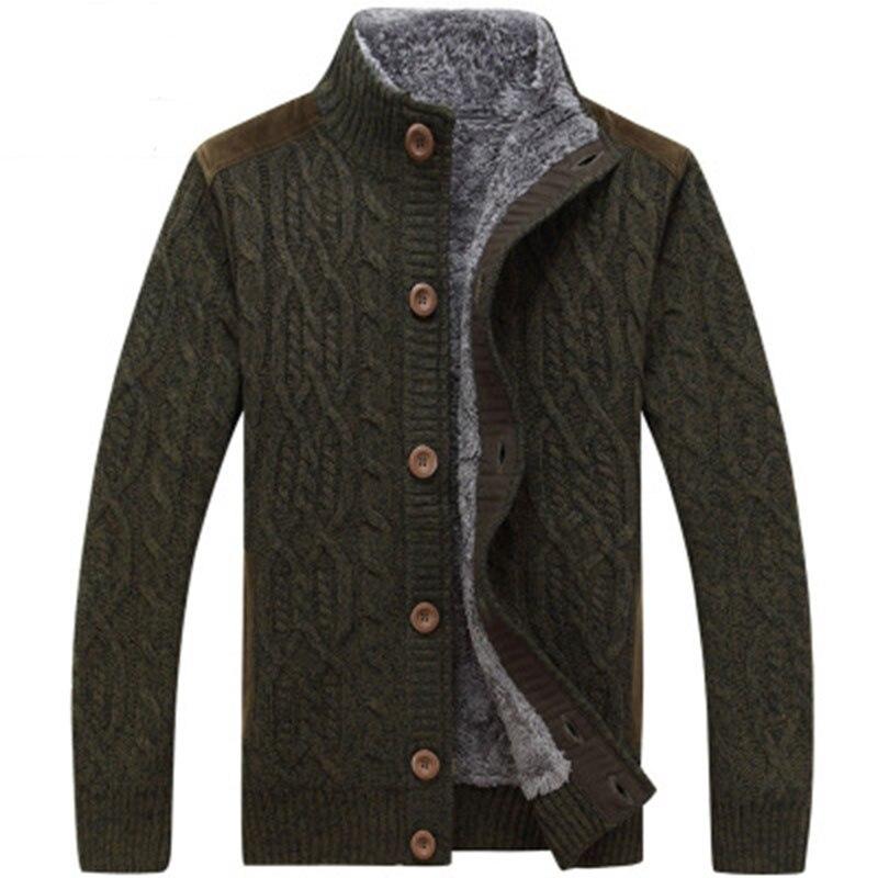 Men's SweaterCoat Faux Fur Wool Sweater Jackets Autumn Winter Men Single shot buckle Knitted Thick Coat Casual Knitwear M-3XL