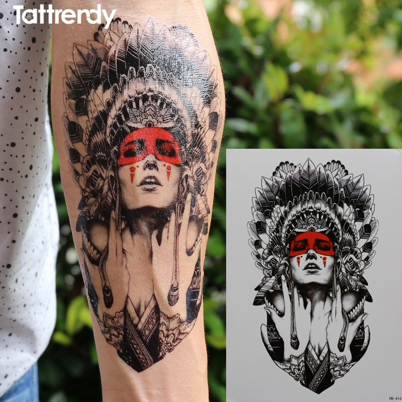 Ancient women keep the tears 21x15cm New Body Art tattoo Temporary Exotic Sexy Flash Henna Tattoos Sticker Indian primitive taty rendezvous with ancient indian society
