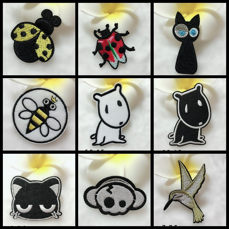 1PCS Cartoon Animal Hippo beetle honeybee punk skull Embroidery Black cat Ice cream Patches Backpack Iron on Clothes Appliques