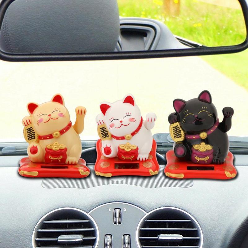2.5 polegada acessórios do carro bonito agitando mãos sorte fortuna gato riqueza acenando estatuetas ornamento decoração interior automóvel artesanato