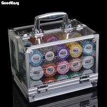 600/1000 pièces jeux de puces dargile avec boîte acrylique Casino couronne POKER 14 couleurs Texas Holdem jetons de Poker 14g