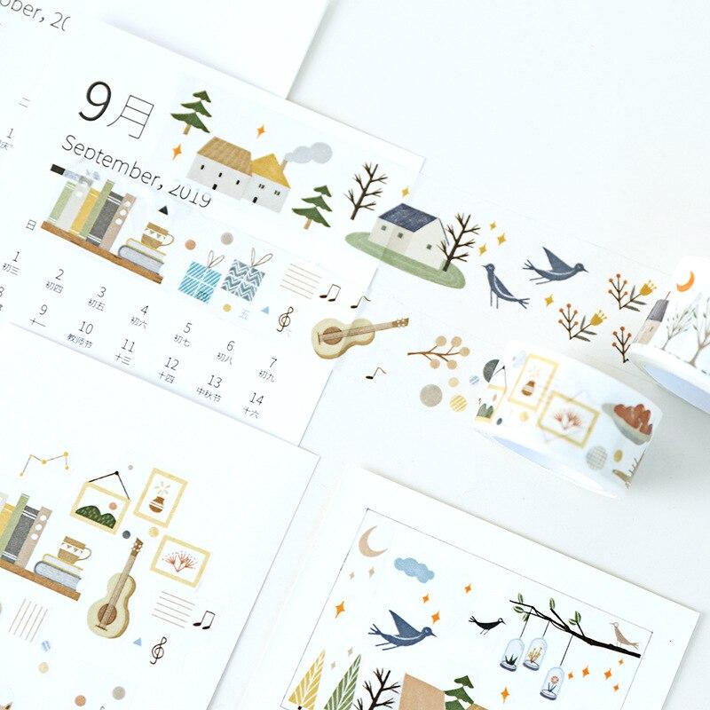 Cinta decorativa washi para diario de viñetas de bosque de esquina pequeña de 5 cm, cinta adhesiva DIY para álbum de recortes, etiqueta adhesiva con revestimiento para manualidades