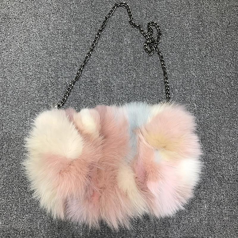 Saco de ombro de pele de raposa real das mulheres pena corrente saco de noite para festa de casamento feminino design de luxo dia embreagem colorido bolsa tote