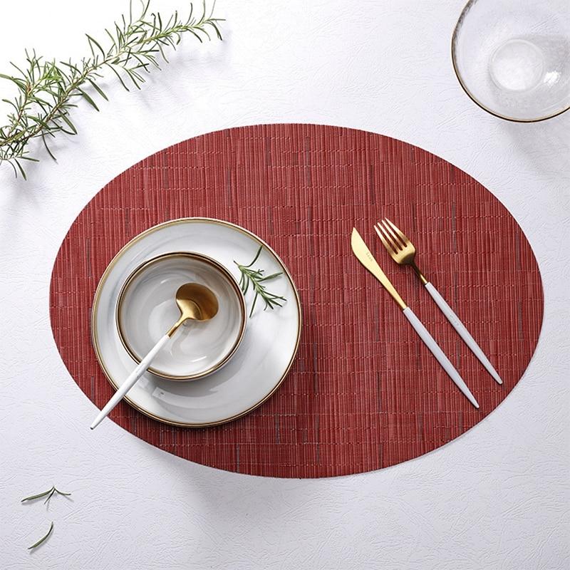 مفارش PVC بسيطة ، 6 قطع ، عازل للحرارة ، بيضاوي قابل للغسل ، ديكور طاولة 45x 32.5cm