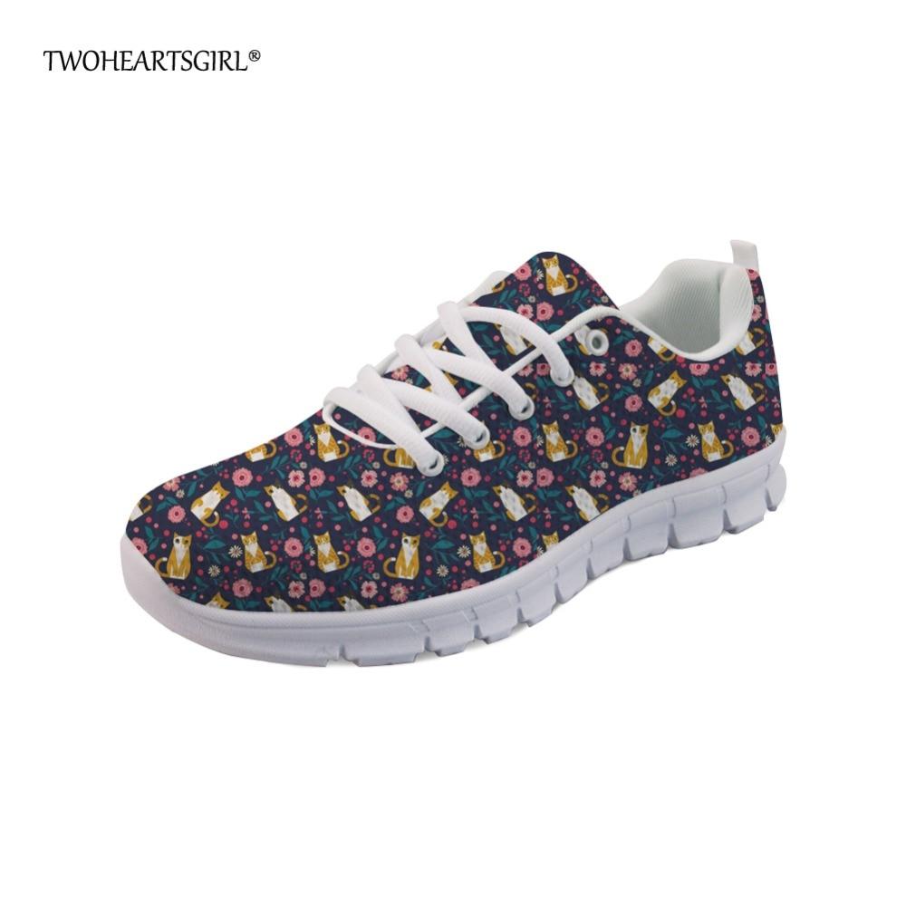 Twoheartsgirl, lindas zapatillas con gatito naranja para mujer, zapatos planos para mujer, zapatos transpirables con cordones, zapatos de malla cómodos