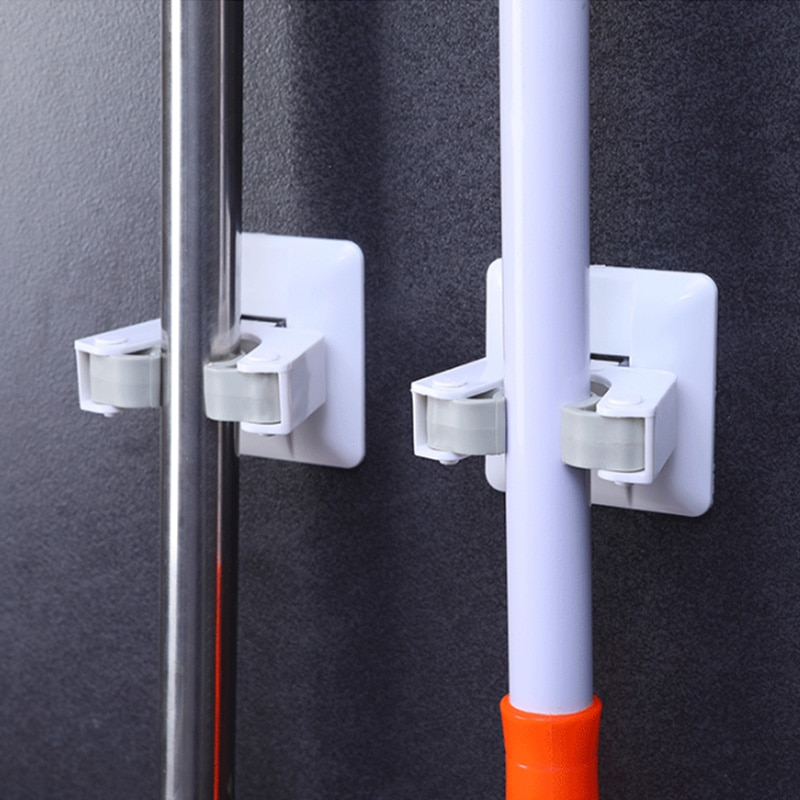 Non Punch Wall Sticker Mounted Mop Storage Broom Holder Hook Clip Powerful Seamless Mop Hook Bathroom Kitchen Home Organizer