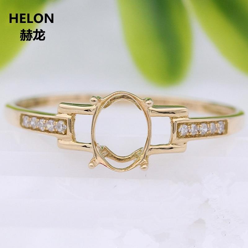 Anillo sólido de oro amarillo de 14k con diamantes naturales de 5x7mm de corte ovalado Semi-montaje anillo de compromiso Color blanco rosa dorado