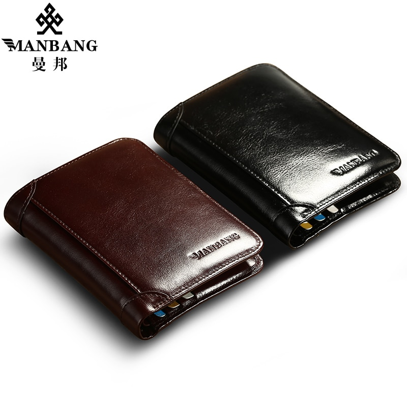 ManBang Classic Style Wallet Genuine Leather Men Wallets Short Male Purse Card Holder Wallet Men Fas