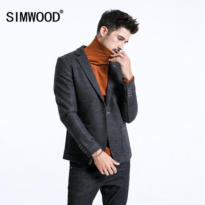 SIMWOOD-جاكيت بليزر رجالي ، كاجوال ، بزر واحد ، مزيج من الصوف ، موضة ، معاطف عالية الجودة ، بدلات رجالية ، 2021 ، شتاء ، 180389