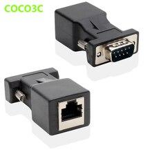 9Pin RS232 mâle à RJ45 femelle connecteur carte DB9 Port série Extender à LAN CAT5 CAT6 RJ45 réseau Ethernet câble adaptateur
