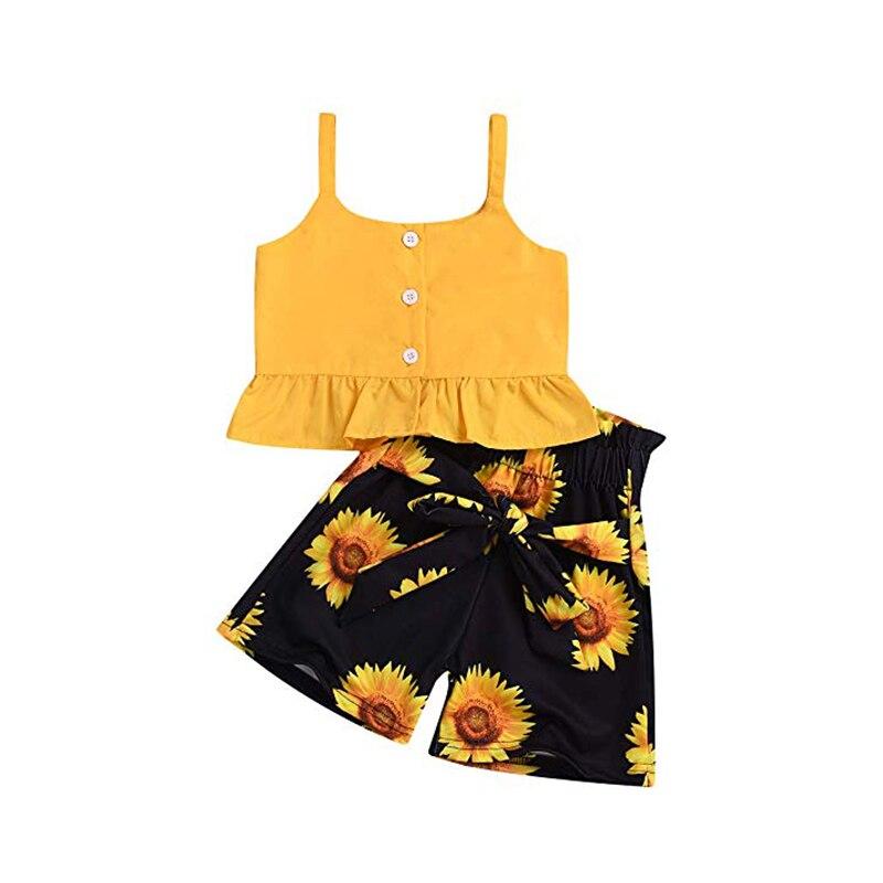 Yellow Outfits 2 Piece Toddler Kids Girl's Button Fly Sleeveless Ruffles Top Sunflowers Short Pants Children Summer Clothes