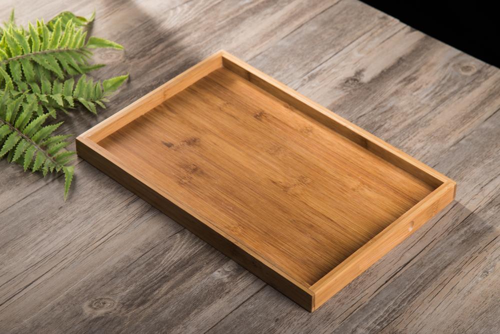 Elegant simplicity bamboo Wood tray rubber wood rectangular tea tray fruit plate restaurant disc tray