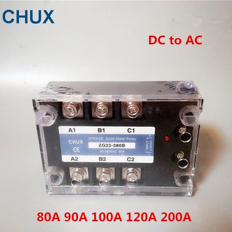 CHUX 3 مراحل الحالة الصلبة التتابع دا 60a 80a 100a 120a 200A 90-480VAC ZG33 3-32VDC DC إلى AC ثلاثة SSR التتابع