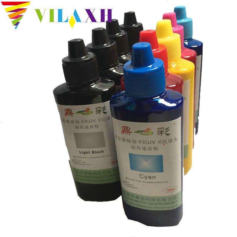 Vilaxh 9 cores 100 ml/garrafa de tinta pigmento universal para epson surecolor p600 p800 stylus pro 3800 3880 impressora recarga tinta pigmento