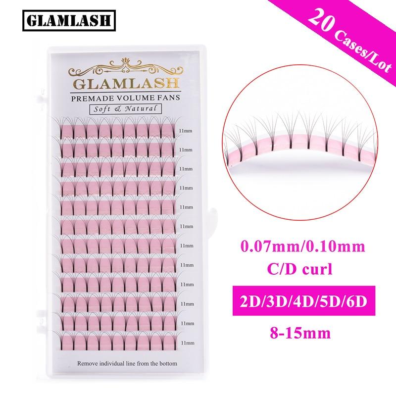 GLAMLASH 20 estuches al por mayor 2D-6D Tallo largo pestañas prefabricadas volumen ruso Fans visón pestañas prefabricadas extensiones de pestañas maquillaje
