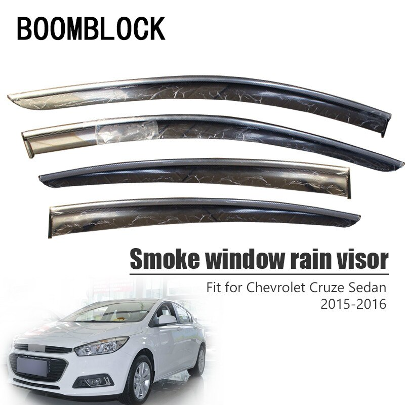 BOOMBLOCK 4pcs Car Covers Window Visor Sun Rain Wind Deflector Awning Shield ABS For Chevrolet Cruze Sedan 2015 2016
