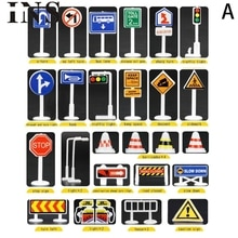 28 pièces voiture jouet accessoires signalisation routière enfants jouer apprendre jouet jeu jouets éducatifs pour les enfants L1128