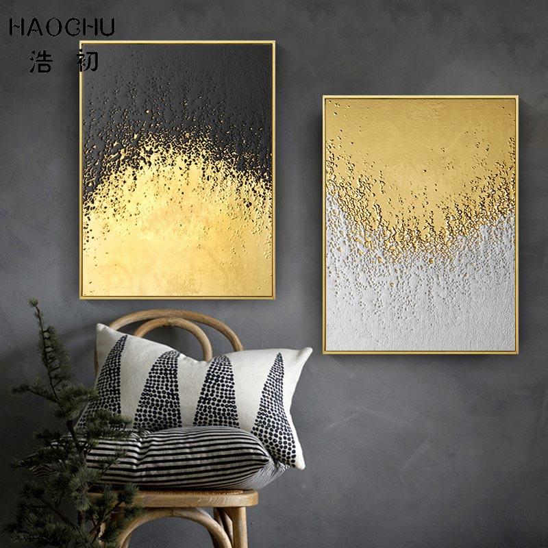 HAOCHU, Retro europeo, Color dorado, Bloque Negro de diamante, papel de aluminio polígono dorado, lienzo abstracto, pintura, Póster Artístico impreso, cuadros de decoración