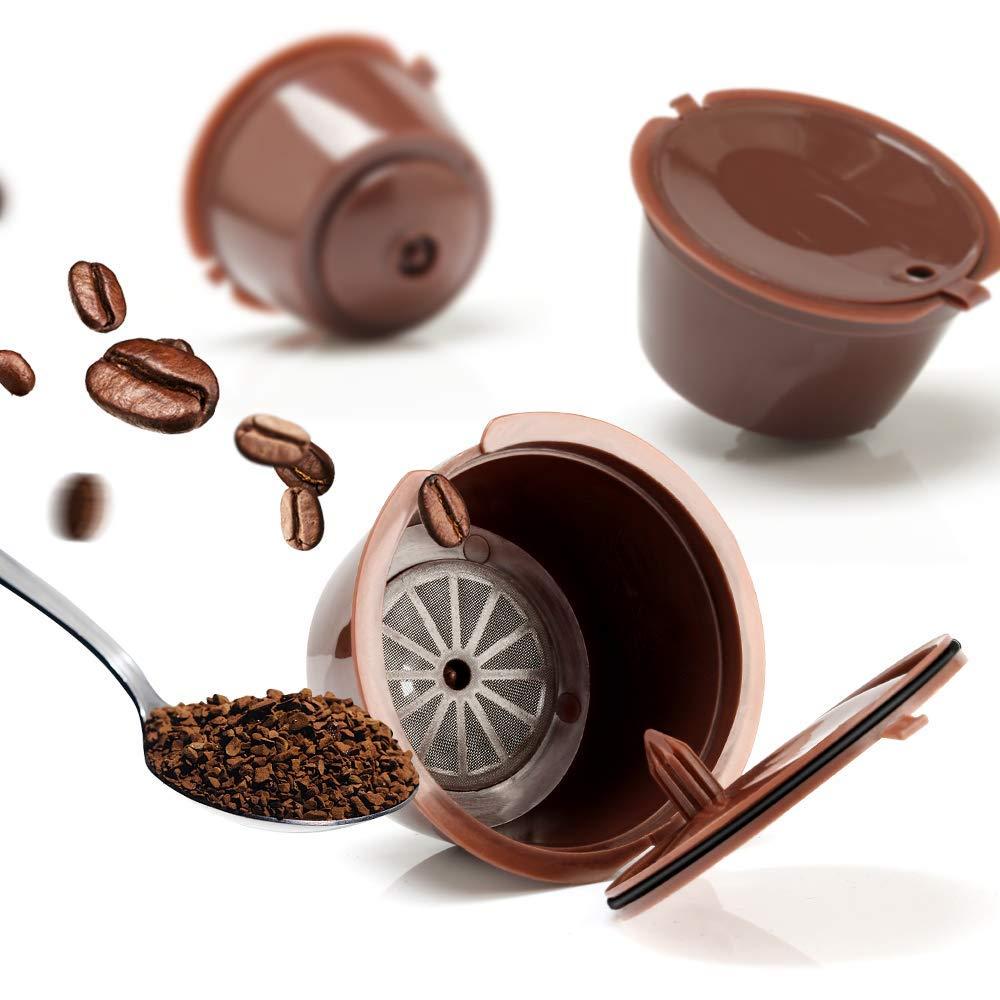 3 pçs café filtro cesta cápsulas recarregáveis reutilizáveis nescafé cápsula xícara cafeteira dolce gusto café caps colher escova