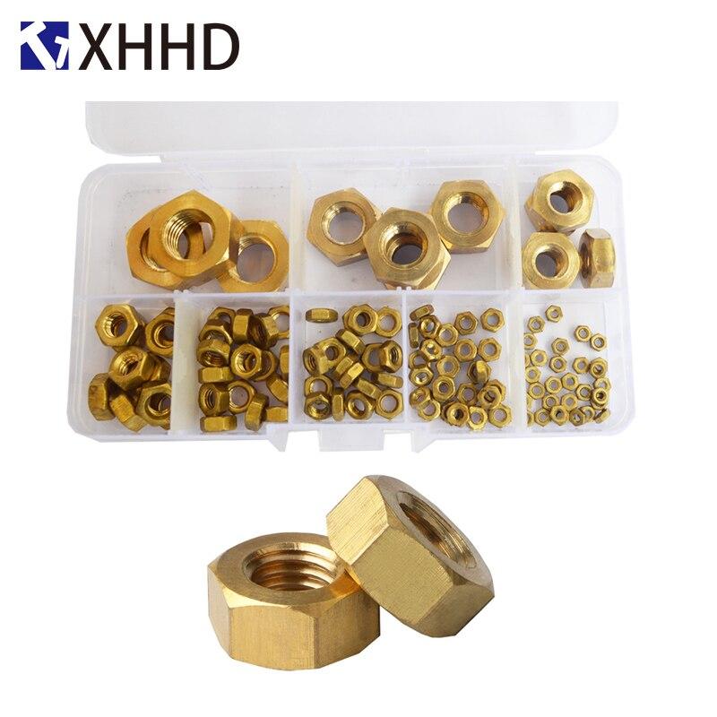 Brass Hex Nut Metric Hexagonal Threaded Copper Hexagon Nuts Set Assortment Kit Box M2 M3 M4 M5 M6 M8 M10 M12
