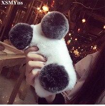 XSMYiss Luxury Cute Cartoon Panda Warm Rabbit Fur Case For Huawei Honor 8 9 10 20 Lite V10 V20 7X 8X Nova2 3 4 5 Phone Case