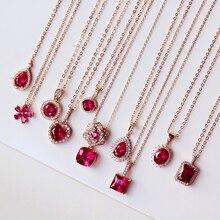 Mode camélia fleur forme carré coeur ovale Rectangle pendentif cubique zircone rose rouge pierre collier divers femmes bijoux