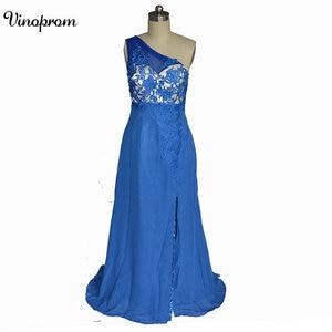 Royal Blue One Shoulder  Evening Dresses Gowns A-line Custom Made Prom Dress Vestidos Largos De Fiesta