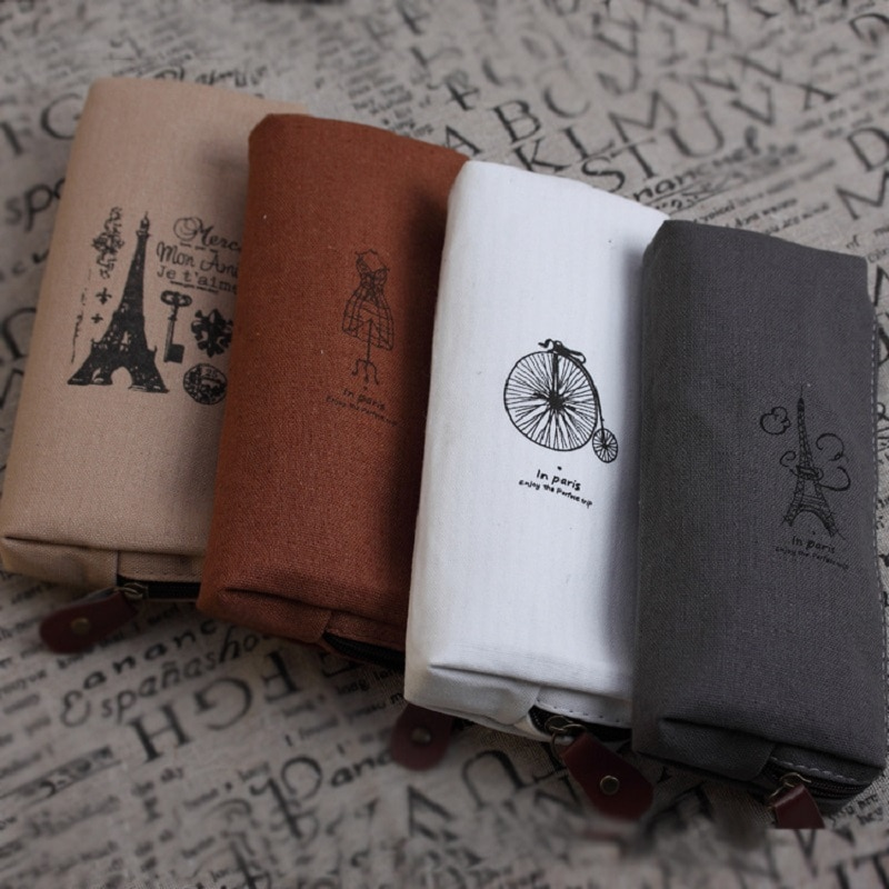Pencil Case Canvas School Supplies Kawaii Stationery Estuches Cute Paris Drawing Pencil Bags Penalty Pen Holder P