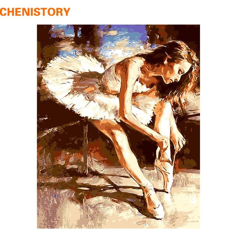CHENISTORY, bailarina de Ballet sin marco, pintura Diy por números, pintura acrílica sobre lienzo, cuadro de Arte Moderno de pared para decoración del hogar, 40x50
