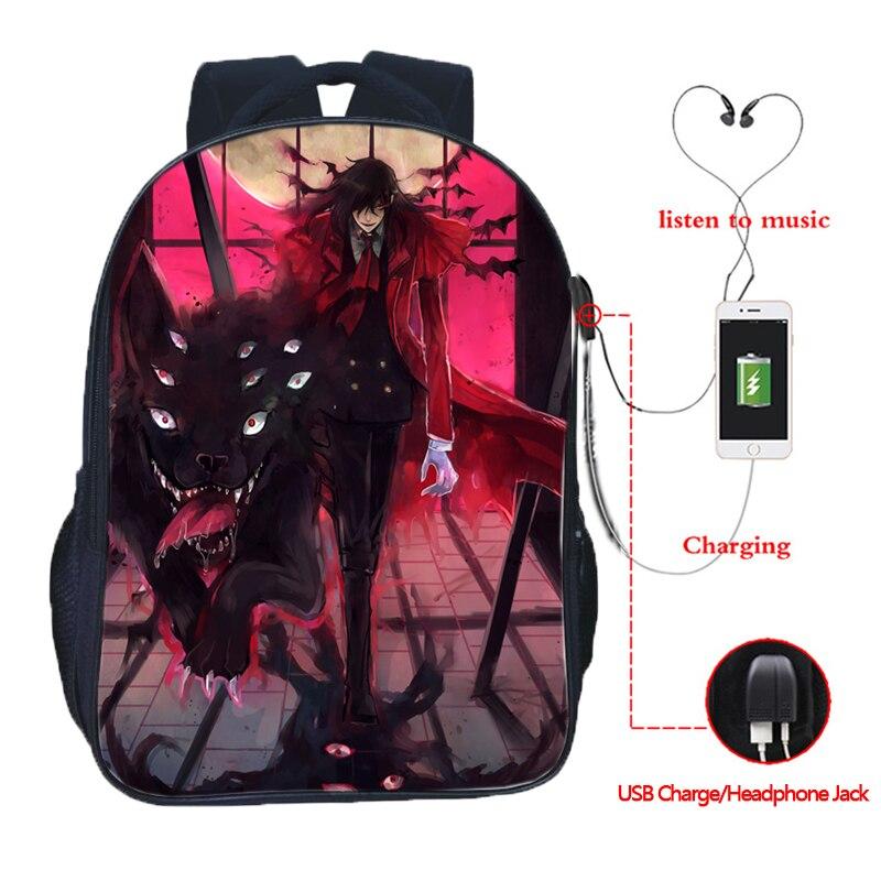 Alucard Hellsing USB Charging School Bags Students Double Pocket School Backpack Fashion USB School Rucksack