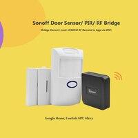 Sonoff 2pcs PIR Sensor/ DW1 Door & Window Alarm Sensor Work with RF Bridge 433MHZ Wifi Wireless Signal Converter Smart Home
