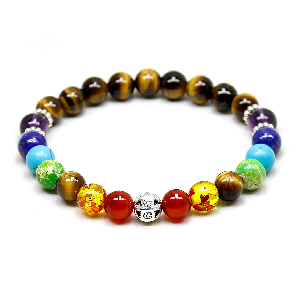 Tiger Eye Stone Beads 7 Chakra Healing Balance Elephant Bracelete Yoga Reiki Prayer Bead Bracelet for Men Women
