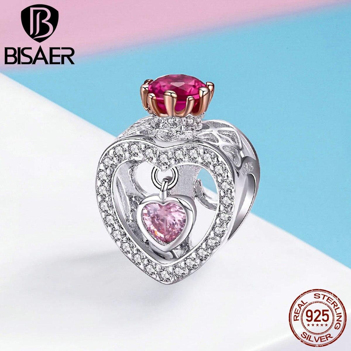 Bisaer 925 prata esterlina rainha coroa princesa coroa contas encantos ajuste charme pulseiras & pulseiras prata 925 jóias ecc1115