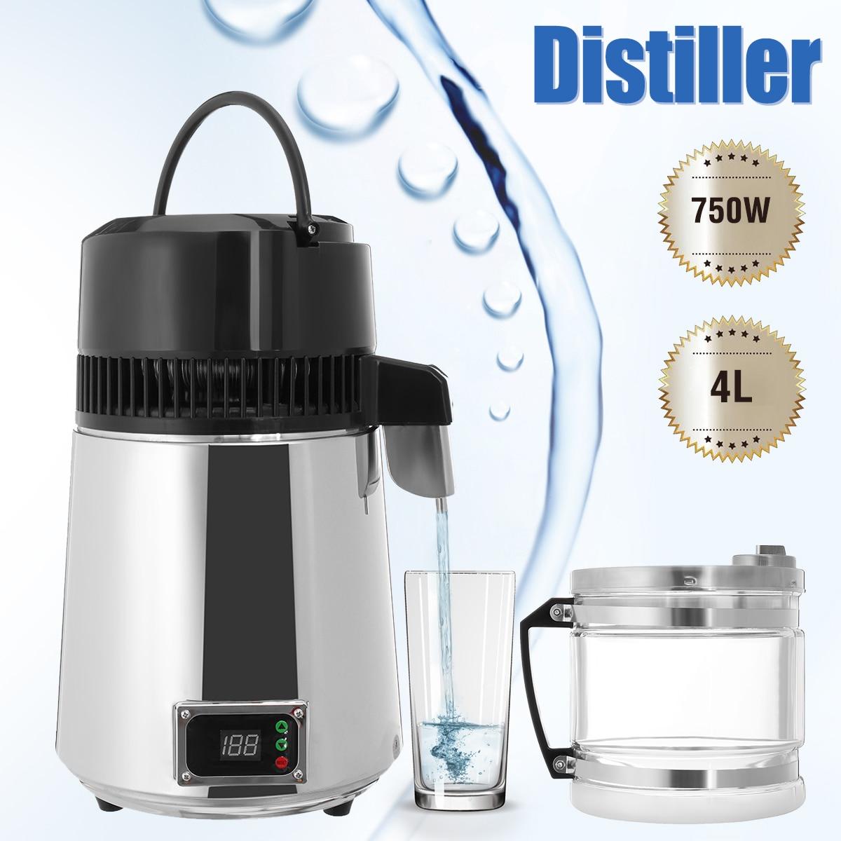 4l 750w casa destilador de água pura elétrica aço inoxidável purificador de água recipiente filtro de água destilada máquina vidro