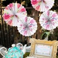 1pc vintage tea party floral hanging paper fans wedding decoration rosette pinwheels romantic bridal shower party backdrops