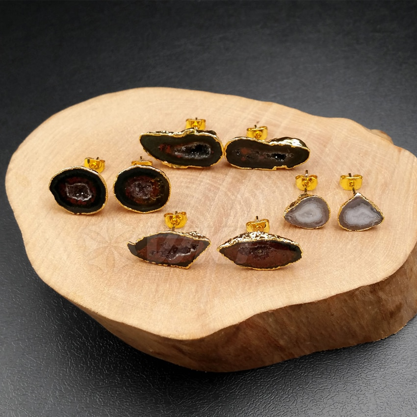WT-E330 Wholesale Natural Geode Quartz Stone Earrings High Quality Geode A-gate With Gold Color For Women Earrings Jewelry