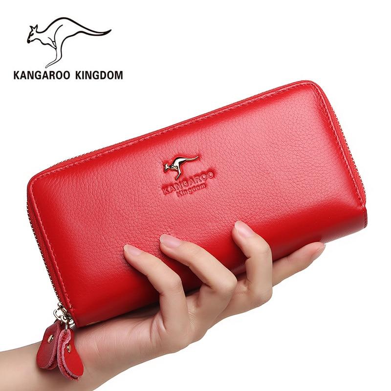 Kangaroo Kingdom Women Wallets Genuine Leather Long Purse Clutch Bags Brand Female Wallet
