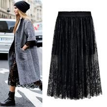 En gros haute qualité 2018 nouvelles femmes dentelle jupe évider blanc noir printemps jupe grande taille jupes M-6XL