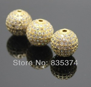 Free Shipping! 12mm gold plaated Boutique Round Shape Beads, Zircon micro inlay Beads,Brass Zircon beads