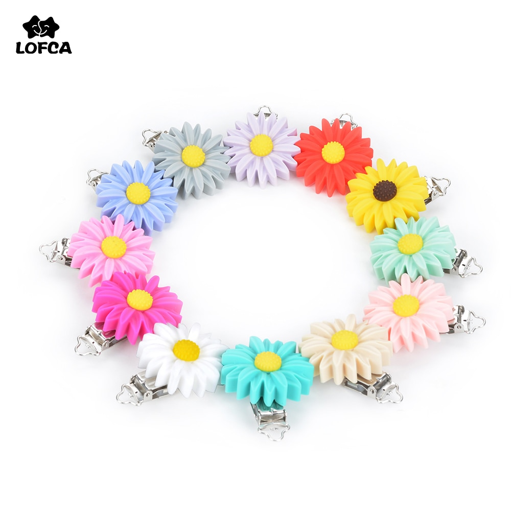 LOFCA 3pcs Silicone Pacifier Clip Daisy Teether Flower Silicone beads Teething Soother Holder Baby Feeding Accessories Tools