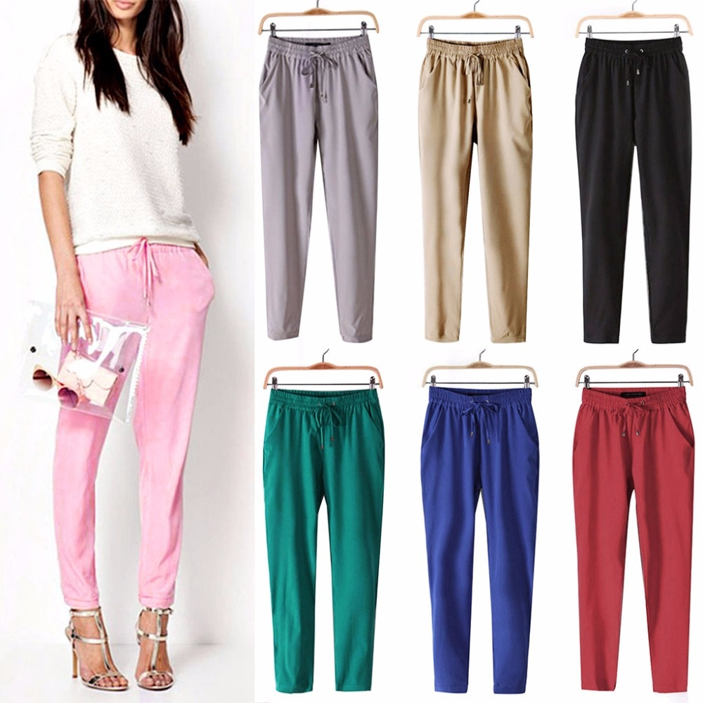 women OL chiffon high waist harem pants bow tie drawstring sweet candy color elastic waist pockets casual trousers pantalones