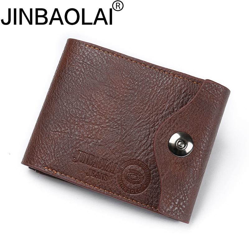 JINBAOLAI Top Vintage Short Wallets Brand Male Purses Coin Pocket Card Holder Wallet Mens Money Bags Hasp Leather Men Wallet