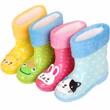 Bottes de pluie antidérapantes pour enfants   Motif de bande dessinée, plus velours pour filles et garçons bébés, bottes en caoutchouc, chaussures deau pour petits enfants