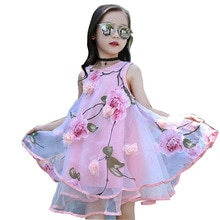 2017 Summer Girls Kids Flower Knee Sleeveless Dress Baby Children Clothes Infant Party Dresses 6 7 8 9 10 11 12 13 14 15 years