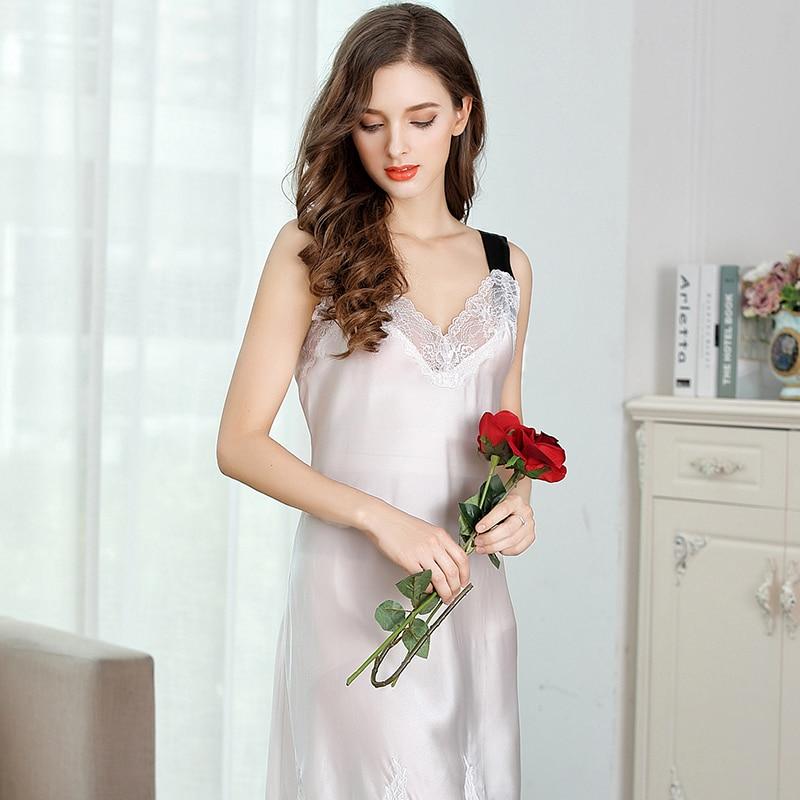 XL silk sleepshirts women 2019 new woman summer fashion brand black sexy sleeveless lace print silk nightgowns sleep&lounge lady