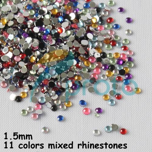 10PACKS/Lot 11 Color Mixed Rhinestone 3D Nail Art Decoration False Nail Rhinestones 1.5mm Cellphone Gift Card Decoration D0453XX